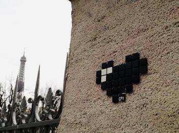 Pixel heart france-paris-sticking